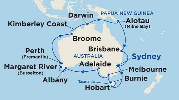 Australia Map Hobart.28 Night Round Australia Cruise Sydney Roundtrip Oct 2020